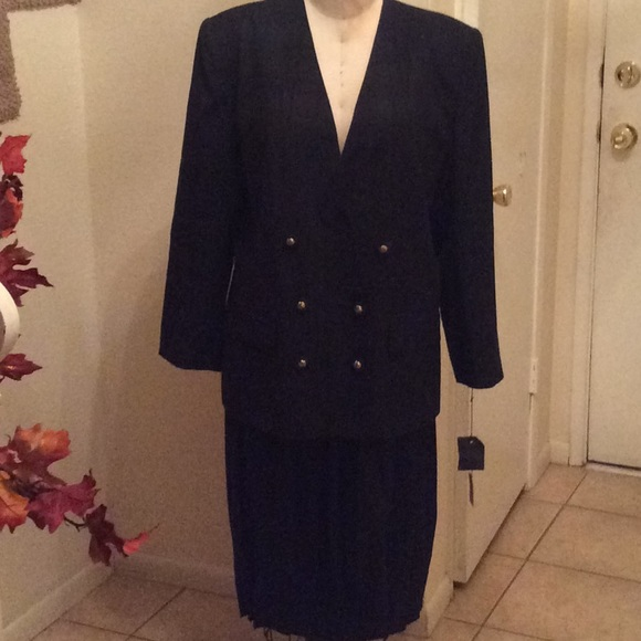 3b120e5ba86 Le Suit Double Breasted Skirt Suit SZ 18 NWT